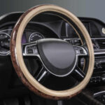full grain leather steering wheel cover